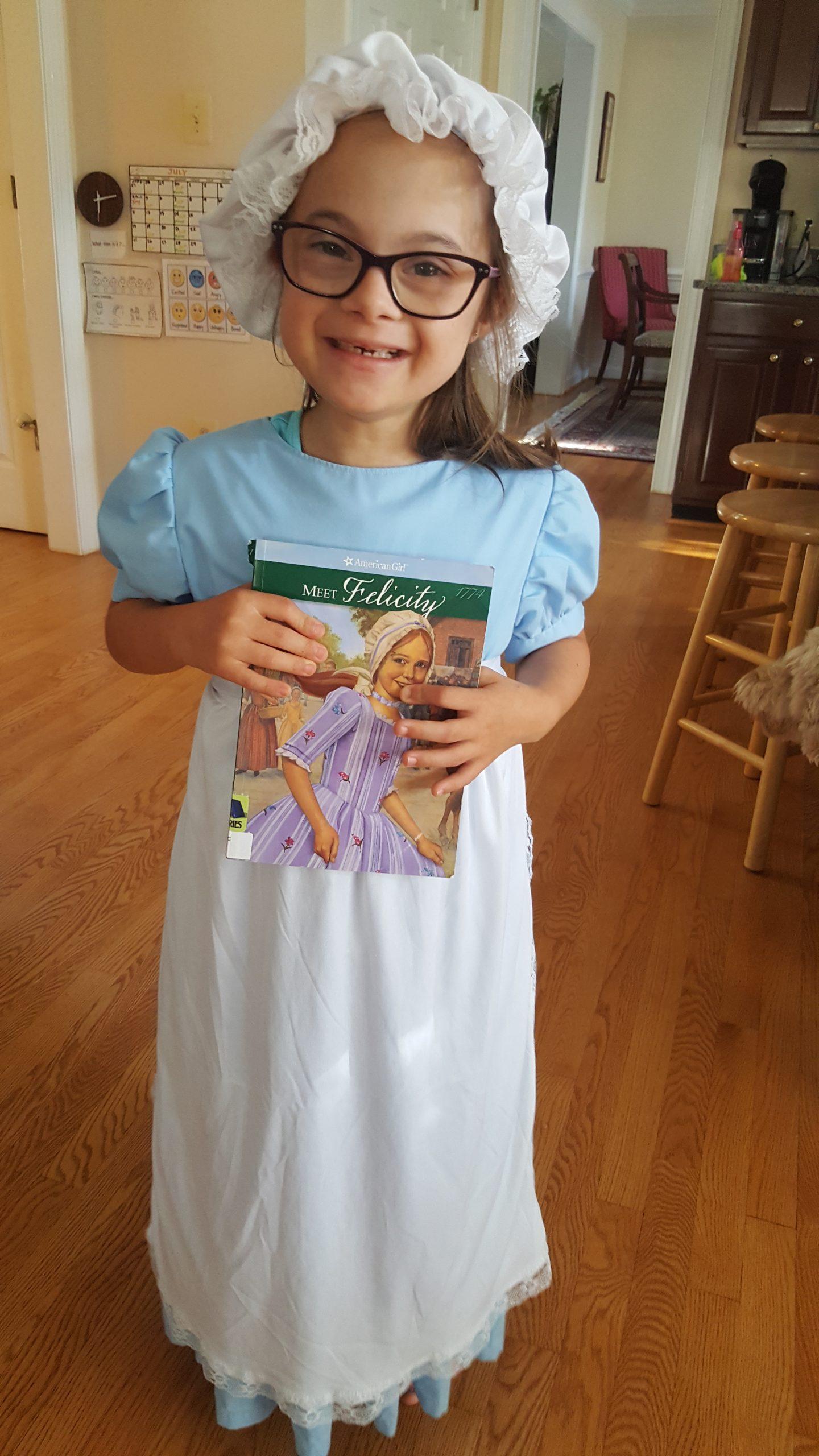 Elsie dresses as Felicity from the American Girl Series